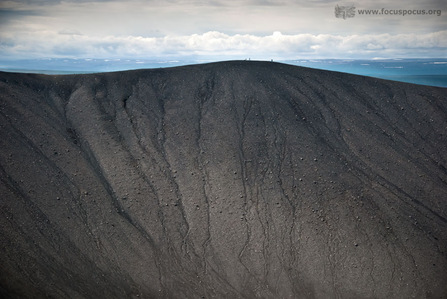 People walking on Krafla volcano